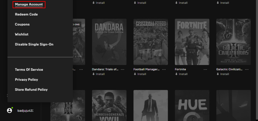 Epic Games Launcher shows how to access the account management page