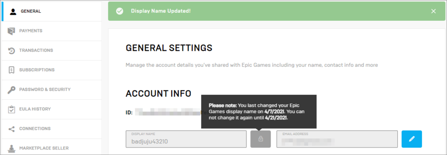 The Epic Games display name was successfully updated
