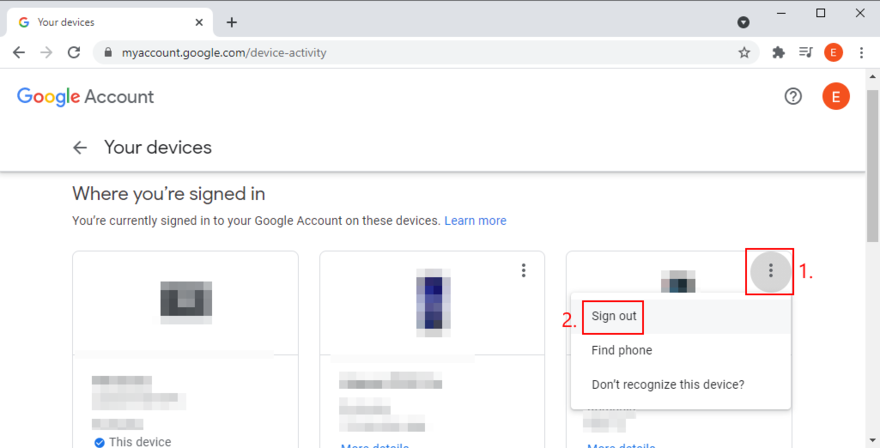 Google Account shows how to sign out of devices