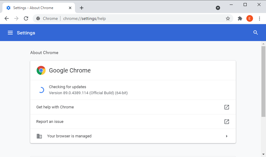 Google Chrome is checking for updates