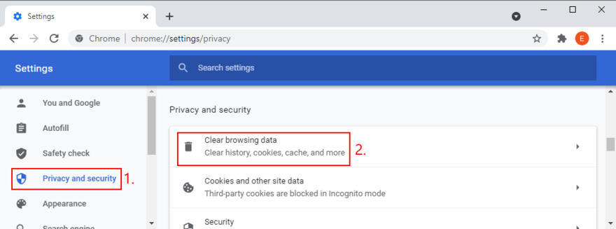 Google Chrome shows how to access the Clear browsing data option