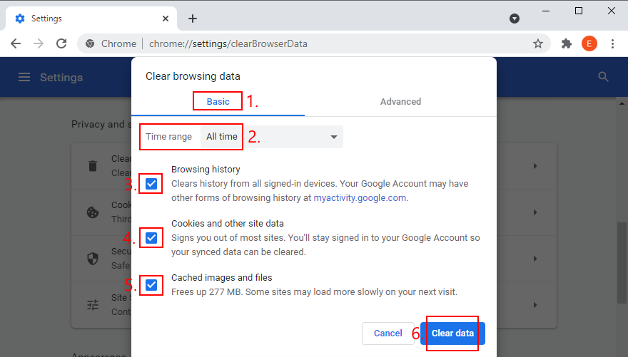 Google Chrome shows how to clear browsing data