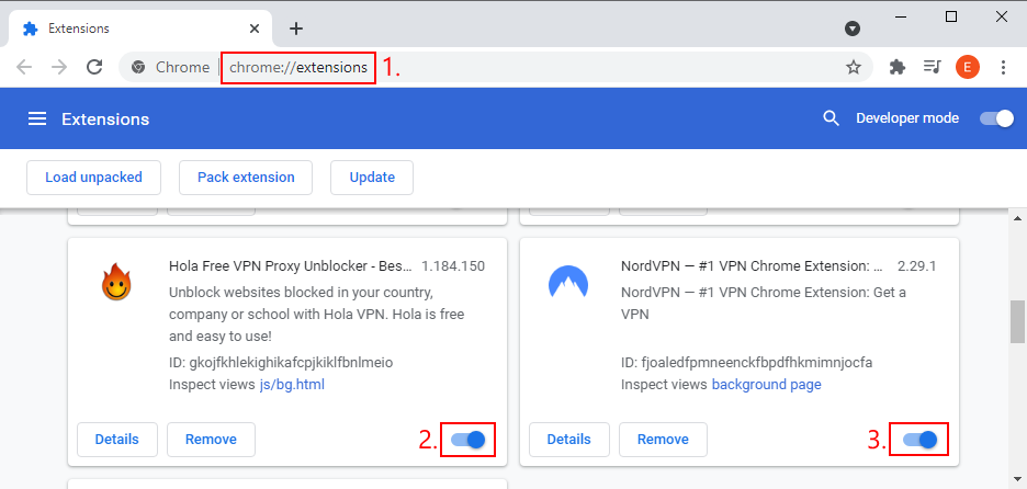 Google Chrome shows how to disable VPN and proxy extensions