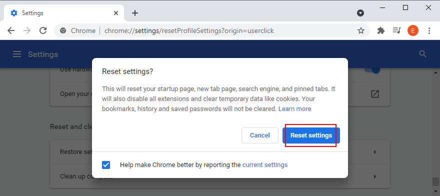 Google Chrome shows how to reset settings to default