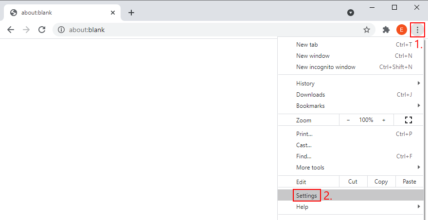 Google Chrome shows how to access the Settings menu