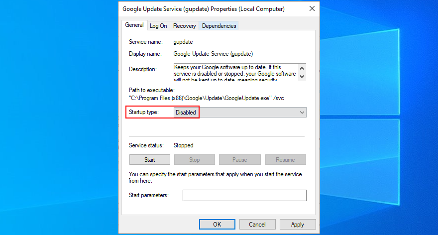 how to disable Google Update Service (gupdate)