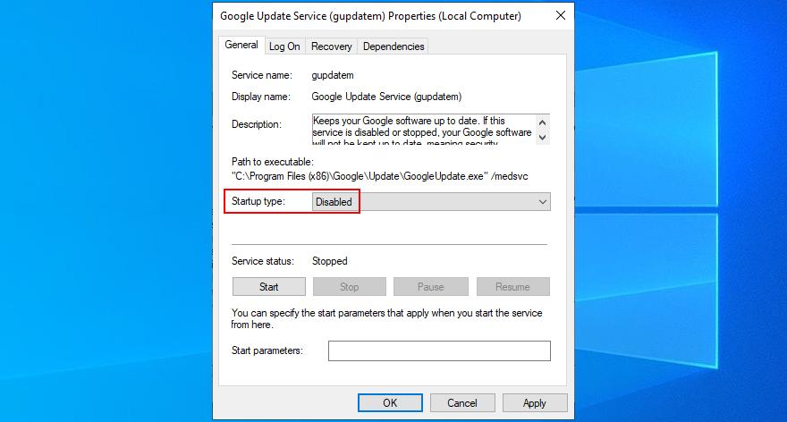 how to disable Google Update Service (gupdatem)