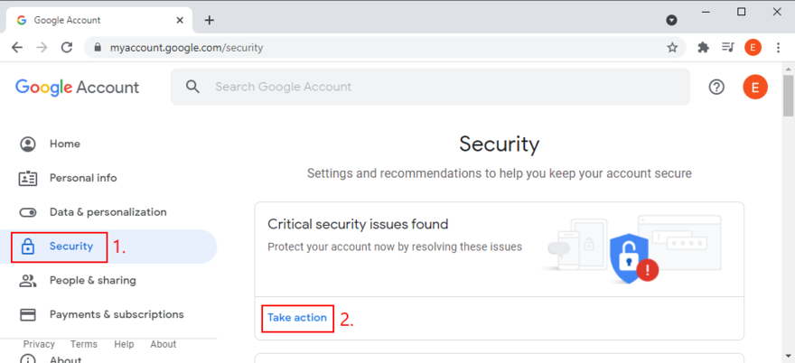 Google has found critical security issues with your account and urges you to take action