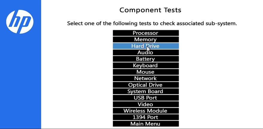 HP PC Hardware Diagnostics (UEFI) shows component tests