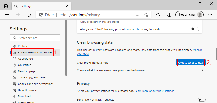Microsoft Edge shows how to access the Clear Browsing Data option