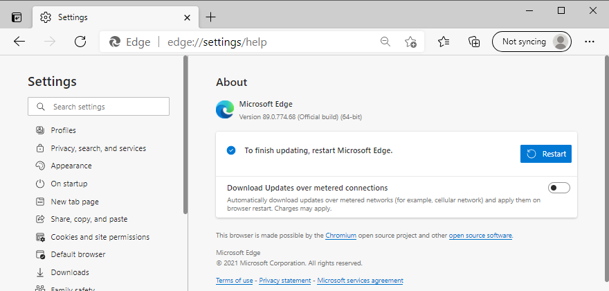 Microsoft Edge asks to restart to complete the update