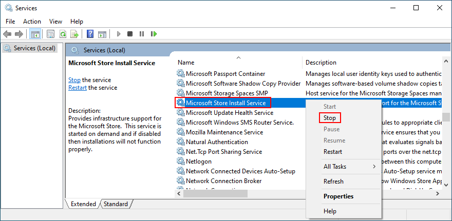 how to stop Microsoft Store Install Service