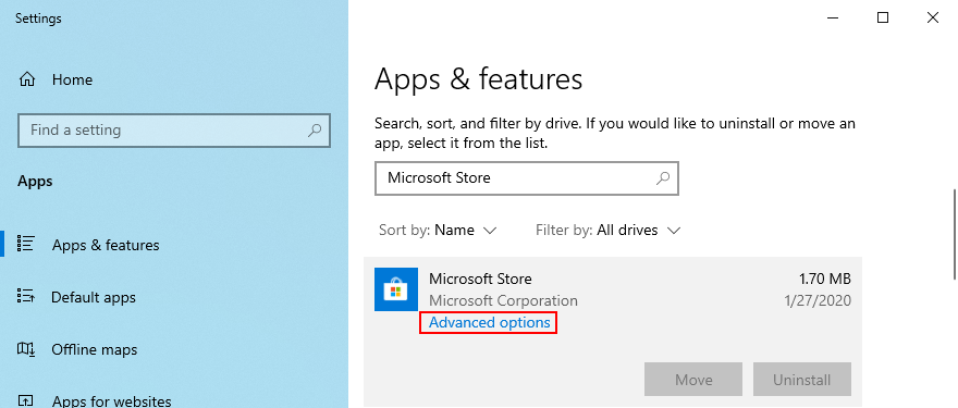 Windows 10 shows how to access Microsoft Store advanced options