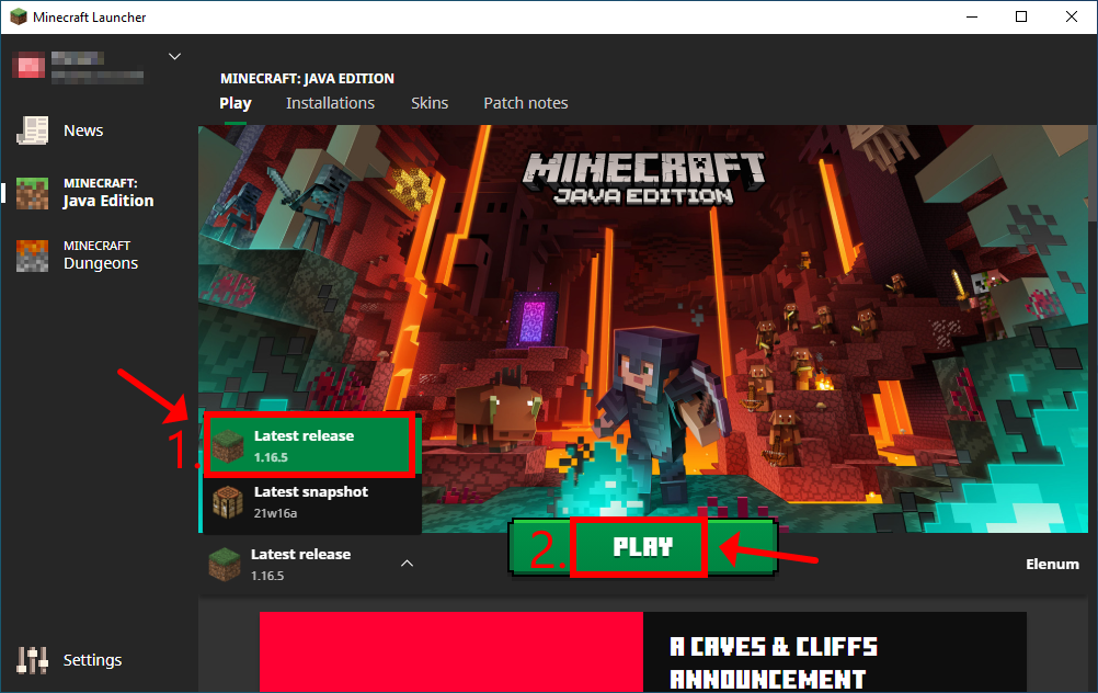 Minecraft Launcher shows how to play the latest release