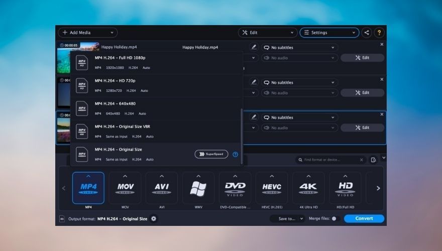 Movavi Video Converter interface