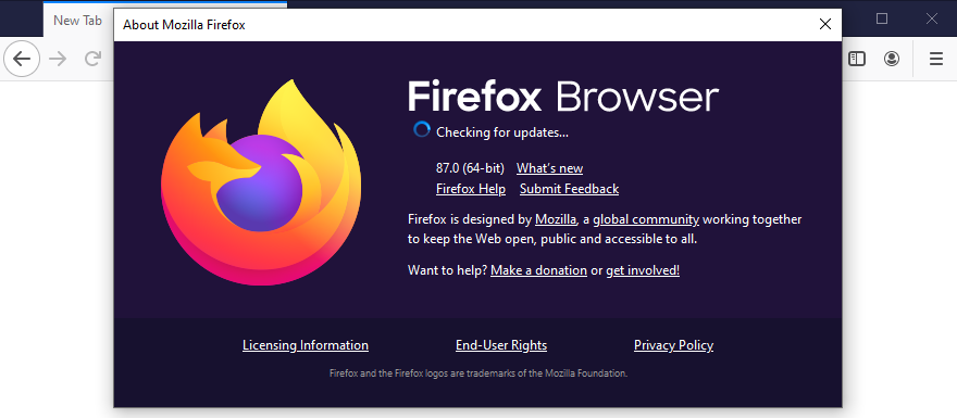 Mozilla Firefox is checking for updates