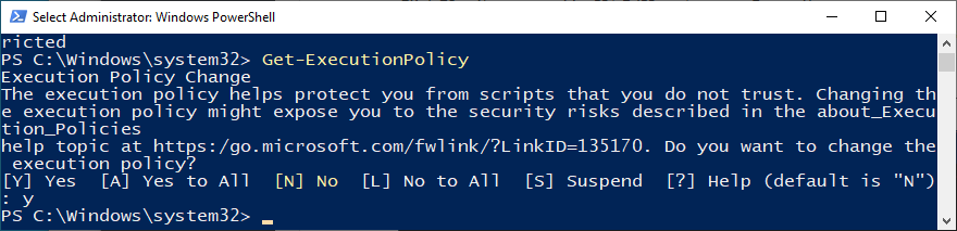 PowerShell shows how to run get-executionpolicy