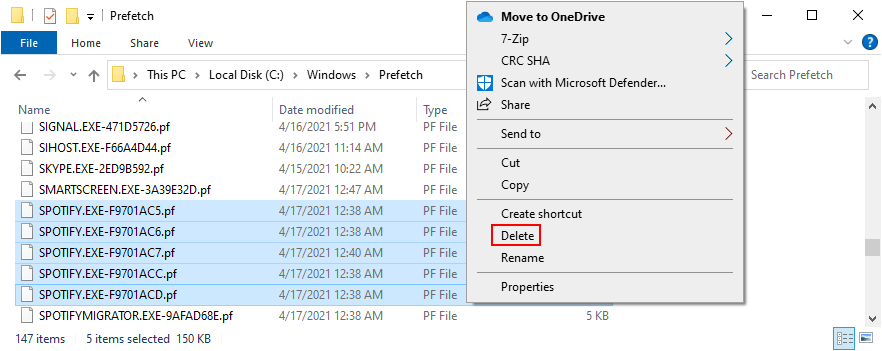 Windows Explorer shows how to delete all Spotify files from the Prefetch folder