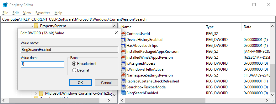 Registry Editor shows how to create the BingSearchEnabled entry