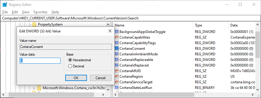 Registry Editor shows how to edit CortanaConsent