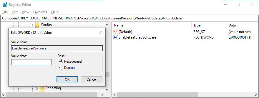 Registry Editor shows the EnableFeaturedSoftware entry