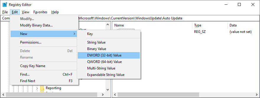 Registry Editor shows how to create a new DWORD 32-bit value entry