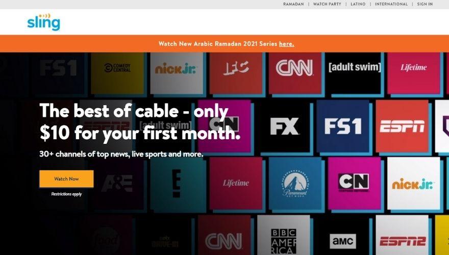 Sling TV website