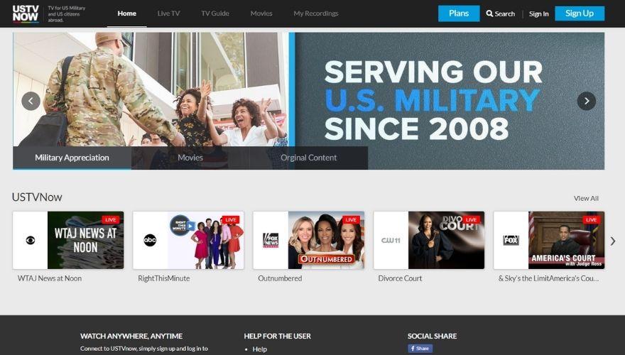 USTVNow website