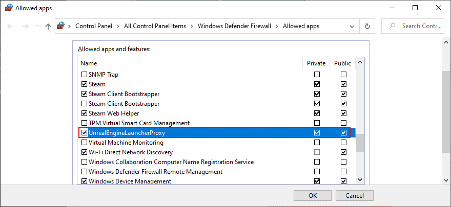 Windows shows UnrealEngineLauncherProxy firewall settings