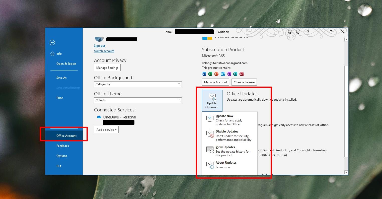 Update Outlook on Windows 10