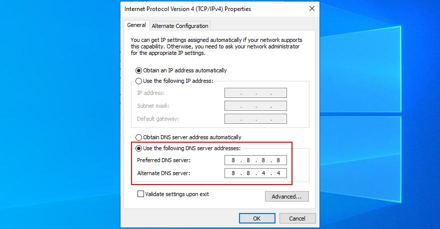 Windows 10 shows how to set Google Public DNS servers