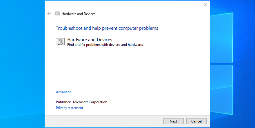 Windows 10 shows how to run the Hardware and Devices troubleshooter