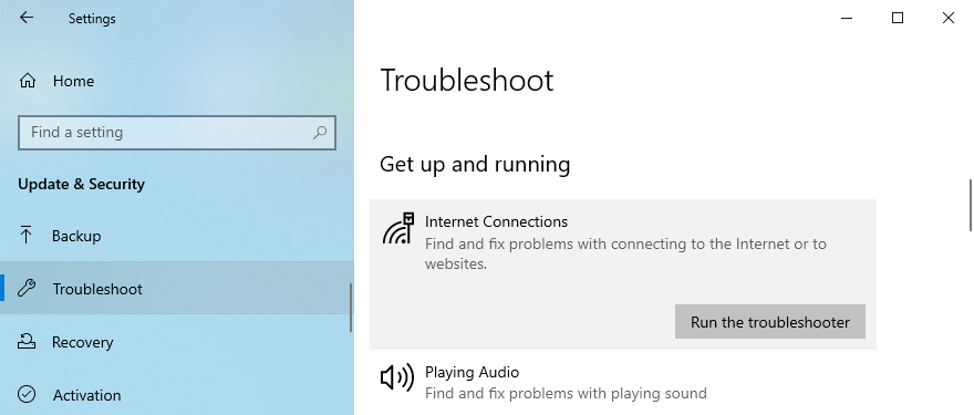 Windows 10 shows how to run the Internet Connections troubleshooter