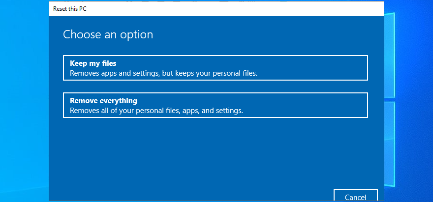 Windows 10 shows the PC reset options