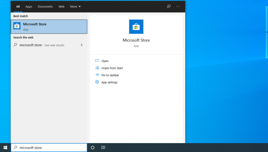 Windows 10 shows how to access Microsoft Store from the Start menu