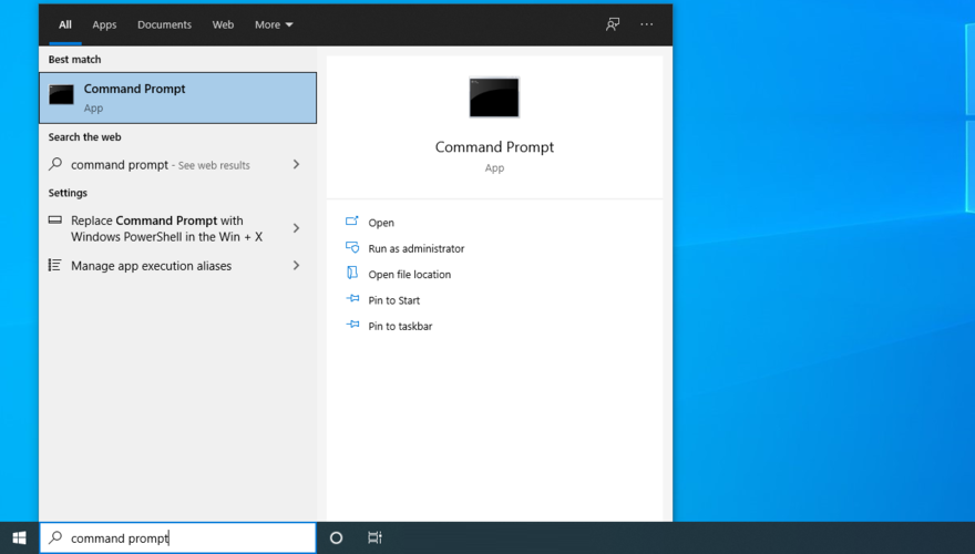 Windows 10 shows how to access Command Prompt from the Start menu