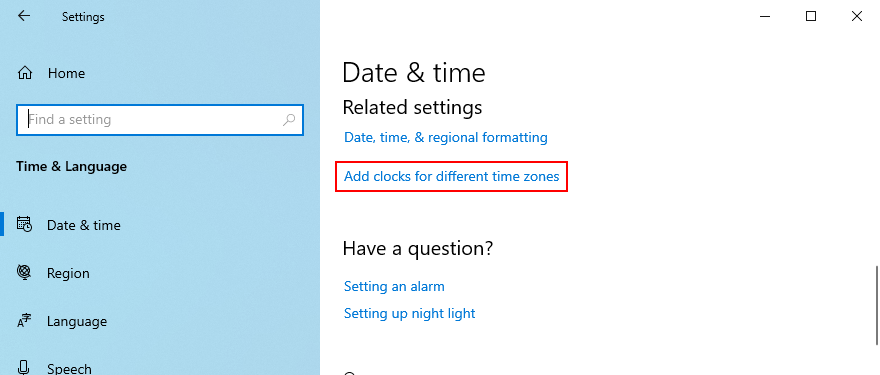 Windows 10 shows how to access the option to add clocks for different time zones
