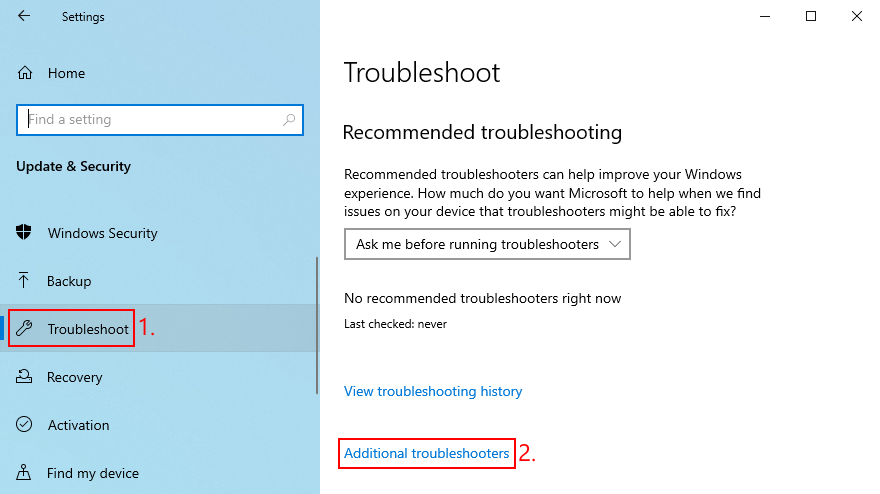 Windows 10 shows how to access additional troubleshooters