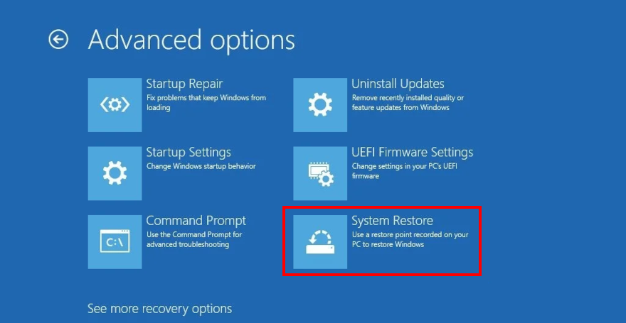 Windows 10 shows how to access System Restore from Advanced Options in Recovery mode