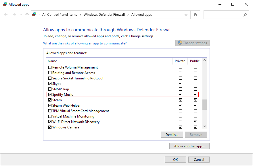Windows 10 shows how to allow Spotify through firewall