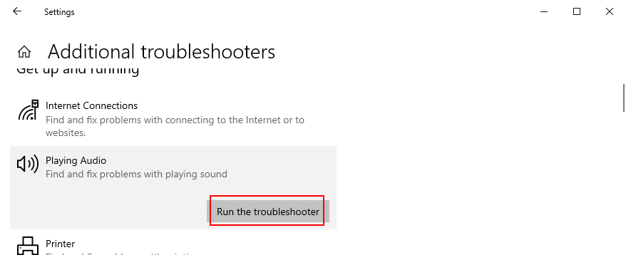 Windows 10 shows how to run the audio troubleshooter