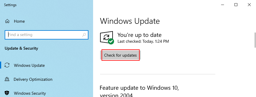 Windows 10 shows how to check for updates