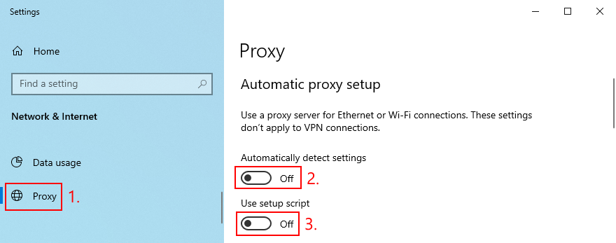 Windows 10 shows how to disable automatic proxy setup