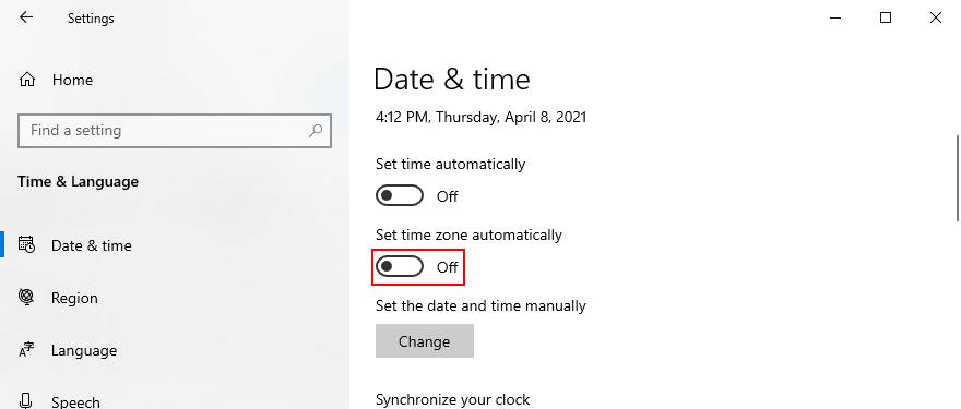 Windows 10 shows how to disable automatic time zone