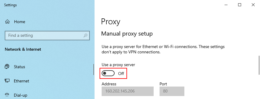Windows 10 shows how to disable manual proxy setup