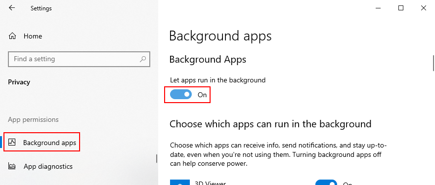 Windows 10 shows how to enable background apps