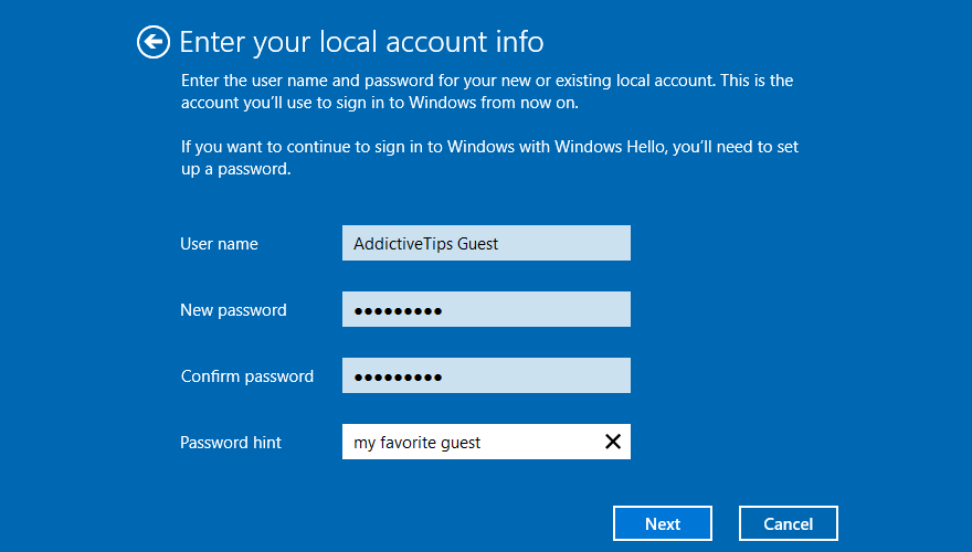 Windows 10 shows how to enter local account info