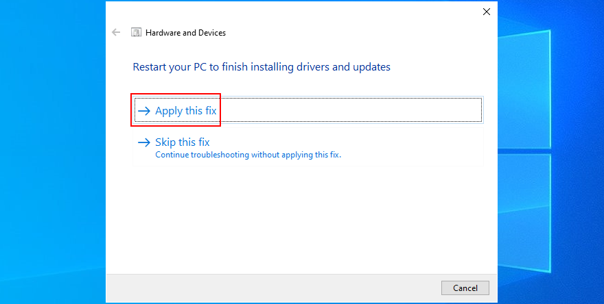 Windows shows how to apply the Hardware and Devices troubleshooter fixes