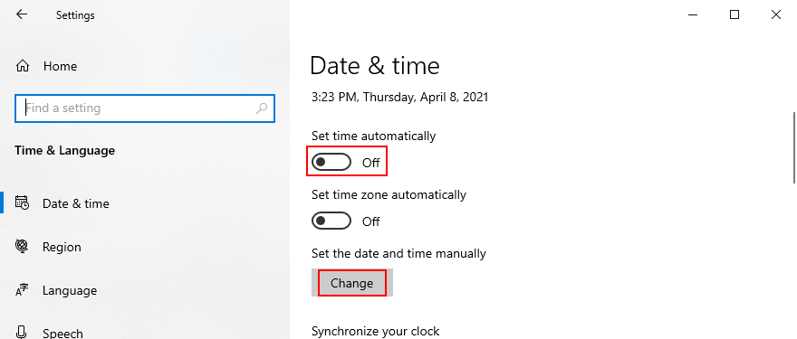 Windows 10 shows how to set the date and time manually