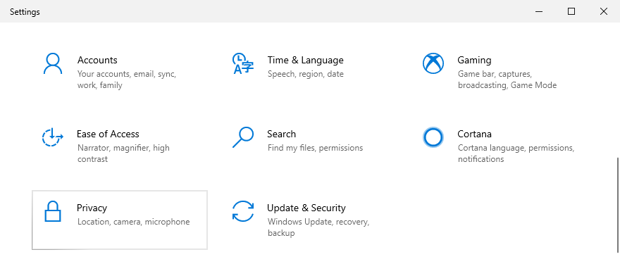 Windows 10 shows how to access privacy settings